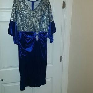 New Navy Blue and Gold Dress XL